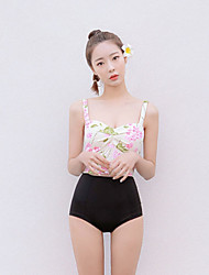 Women's Halter Tankini,Floral Nylon