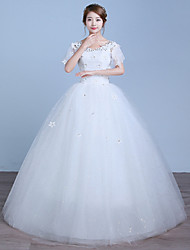 A-line Wedding Dress Floor-length V-neck Cotton Lace Tulle with Appliques Lace Sequin