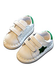 Kids' Flats Spring Fall First Walkers Leather Outdoor Casual Magic Tape Black White Walking