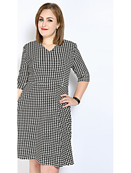 Really Love Women's Plus Size Casual/Daily Party Sexy Vintage Simple A Line Shift Sheath Dress,Houndstooth V Neck Midi ¾ SleeveCotton Polyester