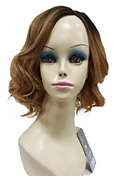 Short Bob Gloden Ombre Side Part no Bangs Medium Wavy Full Synthetic Wig Fashion Wigs