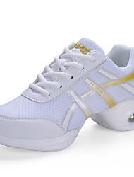 Keine Maßfertigung möglich Damen Tanz-Turnschuh Kunstleder Sneakers Praxis Blockabsatz Weiß Schwarz 2,5 - 4,5 cm