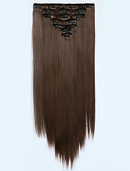 7pcs/Set 130g Medium Browm Straight 50cm Hair Extension Clip In Synthetic Hair Extensions