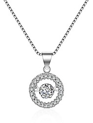 Women's Pendant Necklaces Imitation Diamond Round Silver Plated Circular Silver Jewelry For Birthday Gift Daily 1 pc