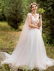 A-line v-neck varredura / escova trem laço vestido de casamento de tule com appliques flor