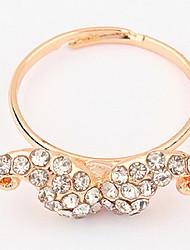 Korean Style White Elegant  Luxury Adorable Rhinestone beard Opening Ring Movie Jewelry