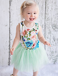 Girls' Casual/Daily Floral SetsCotton Polyester Summer Sleeveless Clothing Set