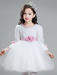 Ball Gown Short / Mini Flower Girl Dress - Lace Satin Tulle Jewel with Bow(s) Flower(s) Pearl Detailing Sash / Ribbon
