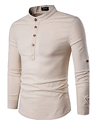 5 colors M-3XL Hot Sale  Men's Casual/Daily Simple Spring Fall T-shirtSolid Round Neck Long Sleeve Cotton