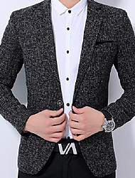 Men's Work Simple Spring Blazer,Solid Shirt Collar Long Sleeve Short Polyester