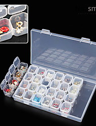 28 Lattice Separate Transparent Storage Jewelry Drill Box