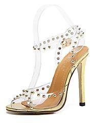 Women's Sandals Summer Club Shoes Rubber Dress Stiletto Heel Studded