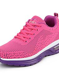 Femme Chaussures d'Athlétisme Confort Polyuréthane Printemps Automne Décontracté Marche Confort Combinaison Talon Plat Violet Rose5 à 7