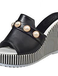 Women's Slippers & Flip-Flops Sandals Comfort PU Summer Casual Walking Comfort Beading Wedge Heel White Black 3in-3 3/4in