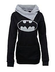 Women's Casual/Daily Hoodie Print Color Block Round Neck strenchy Cotton Polyester Long Sleeve