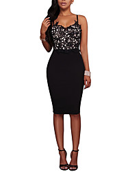 Women's Sexy Backless Party Club Lace Sophisticated Patchwork Strap Knee-length Sleeveless High Rise Bodycon Dress