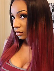 New Fashion Natural Straight Black Ombre Wine Red Synthetic Hairpieces 20inch Long Middle Length Wig for Women