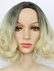 Femme Court Blond Fraise / Blond Platine Ondulation Légère Ombre Hair Cheveux Synthétiques Sans bonnet Perruque Naturelle