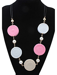 Long Rainbow Beach Circle Round Necklace Hypoallergenic Chain Statement Necklaces Female Bohemia
