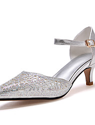 Women's Sandals Summer Fall D'Orsay & Two-Piece Synthetic Tulle Office & Career Party & Evening Dress Stiletto Heel RhinestoneRed Silver