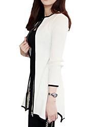 Manteau Femme,Couleur Pleine Sexy Manches ¾ Col Arrondi Col en U Blanc Noir Coton Opaque Automne