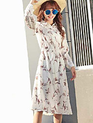 Women's Going out A Line Dress,Floral Shirt Collar Midi Long Sleeve Polyester Spring Summer Mid Rise Micro-elastic Thin