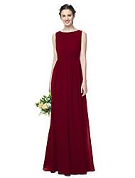 LAN TING BRIDE Longueur Sol Bijoux Robe de Demoiselle d'Honneur - Elégant Sans Manches Mousseline de soie