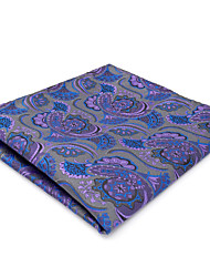 CH14 Men's Classic Pocket Square Handkerchiefs Gray Purple Multicolor Abstract Paisley 100% Silk Unique Fashion Dress Casual