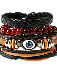 European And American Retro Leather Rope Rope Wax Rope Evil Eye Bracelet