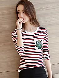 Damen Solide Niedlich Ausgehen T-shirt,Rundhalsausschnitt ¾-Arm Baumwolle