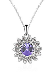 Women's Pendant Necklaces Crystal Chrome Flower Style Euramerican Fashion Personalized Light Green Light Blue Red Yellow Purple Jewelry