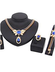 Набор украшений Ожерелье / Браслет Свадебные комплекты ювелирных изделий Стразы Мода Euramerican Классика Стразы В форме короны Синий1