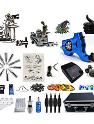 Kit completo per tatuaggi 2 x macchina in acciaio per linee e ombre 1 x macchina rotante per linee e ombre 3 Macchinette per Tatuaggio