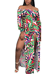 Women's Beach Sexy Boho Sheath Floral Boat Neck Maxi Long Sleeve High Rise Dress