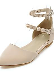 Women's Sandals Summer Fall D'Orsay & Two-Piece Fleece Office & Career Party & Evening Dress Flat Heel Beading Beige Black