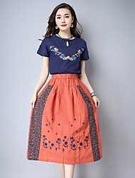 Mujer Tiro Alto Midi Faldas,Lápices Floral