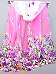 Womens Fashion Chiffon Plant Flowers Fuchsia Orange Red Blue Floral Print Scarfs 155*50CM