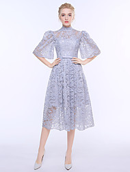 Sheath / Column High Neck Tea Length Lace Bridesmaid Dress with Sash / Ribbon
