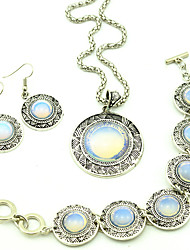 Toonykelly ® Vintage Look Antique Silver Round Natural Opal Stone Jewelry Set(1Set)
