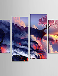 Giclee Print Landscape Modern Pastoral,Four Panels Canvas Any Shape Print Wall Decor For Home Decoration
