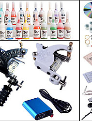 Kit de tatouage complet 2 x Machine à tatouer en acier pour le traçage et l'ombrage 2 Machines de tatouage Mini source d'alimentation