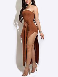 Moulante Robe Femme Décontracté / Quotidien Soirée / Cocktail Soirée Sexy simple Chic de Rue,Couleur Pleine Sans Bretelles MaxiSans