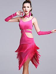 Danse latine Robes Femme Spectacle Viscose 5 Pièces Sans manche Taille moyenne Robe Gants Tour de Cou Short