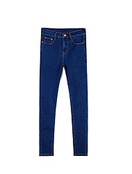Women's Mid Rise Inelastic Jeans Pants,Street chic Straight Slim Ripped Solid