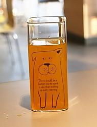 Coupe de verre de lait 301-400ml de motif transparent animaux mignon