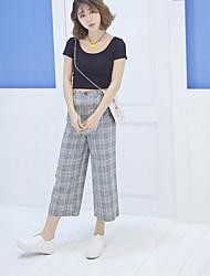 Femme simple Taille Normale Micro-élastique Chino Pantalon,Ample Pied-de-poule