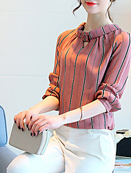 Women's Going out Casual/Daily Simple Summer Shirt,Striped Round Neck Long Sleeve Silk Cotton Opaque