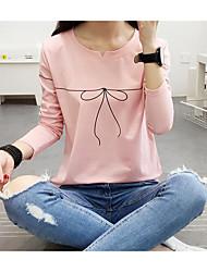 Damen Geometrisch Einfach Lässig/Alltäglich T-shirt,V-Ausschnitt Kurzarm Baumwolle
