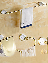 Gold Color Brass Contemporary China with DiamoAntique Brass 5PC Bathroom Accessory Set Towel Bar Towel Ring Paper Holder and Hook