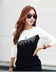 2015 spring new drilling hot new Korean women stitching bottoming shirt long-sleeved T
